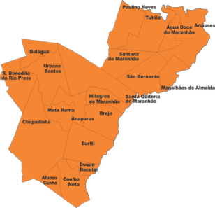 Baixo Parnaíba maranhense. Mapa: FETAEMA